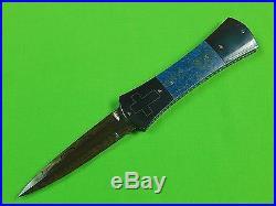 Custom Hand Made by JOHN ETZLER Damascus & Lapis Lazuli Folding Pocket Knife