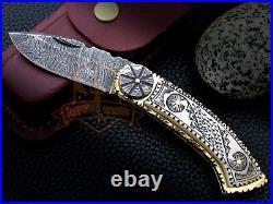 Custom Handmade Damascus Folding Knife Scrimshaw Art Knife Camel Bone Handle