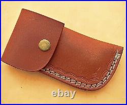Custom Handmade Damascus Steel Folding Pocket Knife With Polish Rams Horn Handle