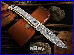 Custom Handmade Damascus Steel Folding/pocket Knife With Damascus & Brass Handel