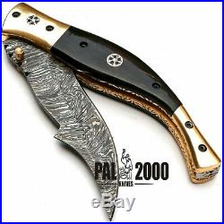Custom Handmade Damascus Steel Hunting Folding Pocket Knife -Sword/Chef Kitchen
