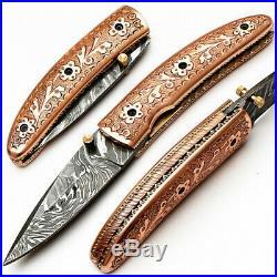 Custom Handmade Damascus Steel Pocket Folding Knife