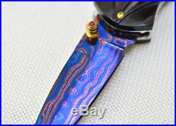 Custom Handmade Folding Knife Color Damascus Engraved Buffalo Horn Handle Scale