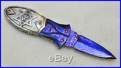 Custom Handmade Folding Knife Color Damascus Star Of David Black Pearl Engraved