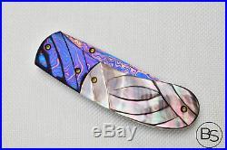 Custom Handmade Folding Knife Color Damascus Steel Engraved Black Pearl Handle