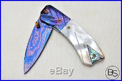 Custom Handmade Folding Knife Color Damascus White Pearl Carved Garnet Goldscrew