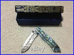 Custom Handmade Folding Knife Damascus Abalone Brass Swarowsky