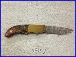 Custom Handmade Folding Knife Polished Damascus Stabilized Red Wood Brass