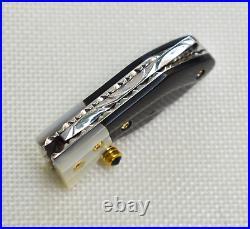 Custom Handmade Mini Folding Knife Color Damascus Buffalo Horn White Pearl Scale