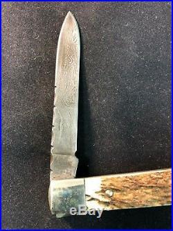 Custom Made Damascus Blade Stag Grip Brass Bolster Folding Knife