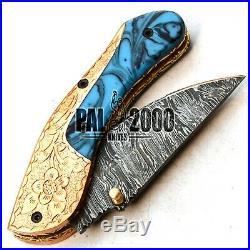 Custom Made Damascus Folding Pocket Knife HAND ENGRAVED Handle A-WORK-OF-ART