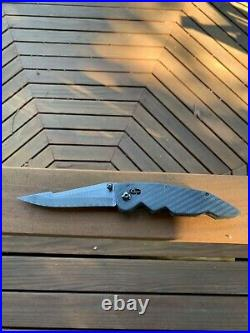 Custom Made Folding Knife Damascus 4.5 Harpoon Blade Carbon Scales
