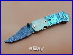 Custom Mini Folding Knife Mosaic Damascus Steel Abalone Black Pearl Arts Handle