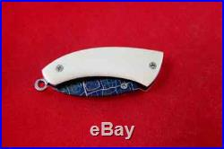 Custom Mini Folding Knife mosaic Damascus Steel cow bone titanium Arts Handle #1