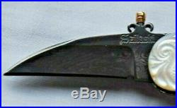 Custom One of a Kind J. Szilaski folding knife Damascus with Mother of Pearl