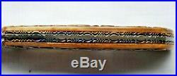 Custom One of a Kind J. Szilaski folding knife Damascus with carved shell handle