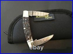 Custom Schrade Joe Kious 2002 Damascus Slipjoint Folder Folding Knife