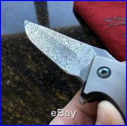 Custom Will Moon MK9 Damascus Liner Lock Folding Knife
