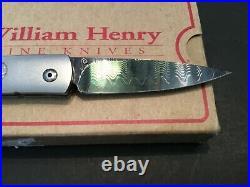 Custom William Henry Knives Argent B10Dark Damascus Flipper Folder Folding Knife