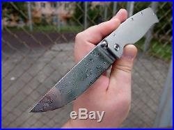 Custom folding knife SWIFT BIG, from Cheburkov workshop. Stainless Damascus
