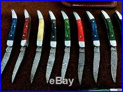 Custom hand made damascus steel mini folding knives lot of 20 (AMNA JAN)