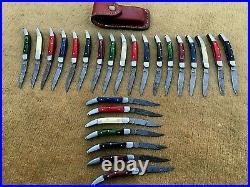 Custom hand made damascus steel mini folding knives lot of 25 (AMNA JAN)