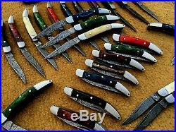 Custom hand made damascus steel mini folding knives lot of 25 (MOHIB JAN)