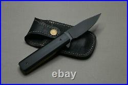 Custom handmade D2 Steel Folding Knife Full Black In New Condition