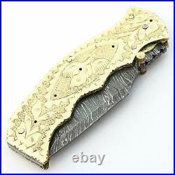 Custom handmade Damascus Steel Hunting Folding Pocket knife Brass Copper Handle