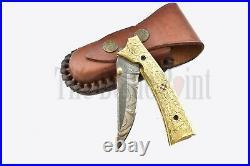 Custom handmade Damascus Steel Hunting Folding Pocket knife Brass Handle sheath