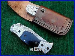 Custom handmade damascus steel folding knives liner lock lot of 2 (AMNA JAN)