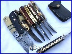 Custom handmade damascus steel liner lock folding knives lot of 8(AMNA JAN)