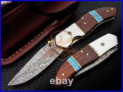 Custom made Damascus folding knife Rosewood pocket knife Stainless steel bolster