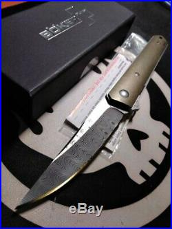 Customized Boker Damascus Kwaiken Burnley Flipper Folding Knife 01bo297dam