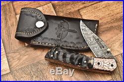Cutlery Salvation Custom Hand Made Damascus Folding Knifeliner Lockcs-137