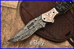 Cutlery Salvation Custom Hand Made Damascus Folding Knifeliner Lockcs-149