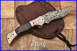 Cutlery Salvation Custom Hand Made Damascus Folding Knifeliner Lockcs-151
