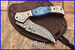 Cutlery Salvation Custom Hand Made Damascus Folding Knifeliner Lockcs-160