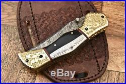 Cutlery Salvation Custom Hand Made Damascus Folding Knifeliner Lockcs-181