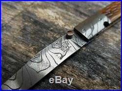D. B. FRALEY damascus custom folding knife DIXON, CA very rare