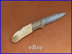 D. E. Friedly Handmade Damascus Lock Back Folding Knife. Chris Meyer Engraving