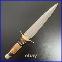 D2 Steel Toothpick Dagger 15 Knife, with Free Pocket Folding Damascus Knife