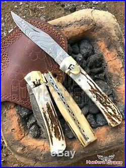DAMASCUS HANDMADE 9 FOLDING POCKET KNIFE (Lot Of 3) SPECIAL KNIFE STAG HANDLE