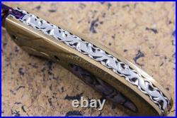 DC Custom Folding Knife Color Damascus Abalone inset Anodised Stainless Handle