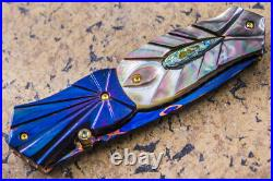 DC Custom Folding Knife Color Damascus Black Pearl Anodised Titanium Perridot