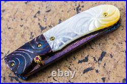 DC Custom Folding Knife Color Damascus White Pearl Anodised Titanium Dorolite