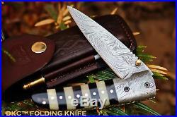 DKC-105 BUMBLE BEE Damascus Folding Pocket Knife 4.5 Folded 8 Long 7.2oz oz