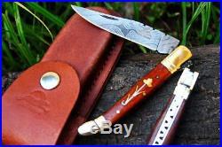 DKC-312 COURTYARD Damascus Folding Laguiole Pocket Knife 4 Folded 7.5 Long