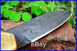DKC-46 GOLDEN RAM (medium) Damascus Folding Pocket Knife Polished Brass 5 Folde