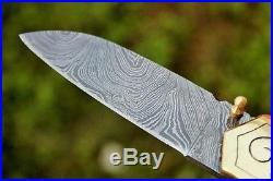 DKC-63 NAPA Grapes Damascus Folding Pocket Wine Knife Polished Brass 5 Folded, 8